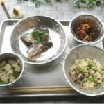 非常食材から作った定食:サバ水煮缶大根おろし添え・枝豆昆布ごはん